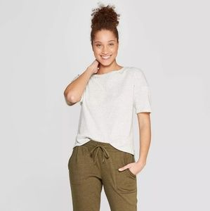 Women's Brushed Fleece Short Sleeve Lounge Sweatsh